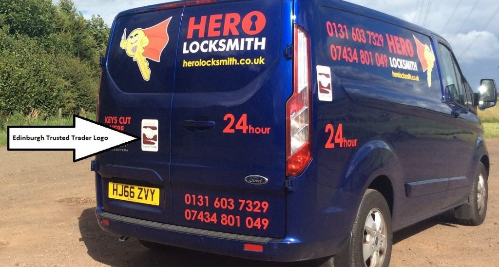 Edinburgh Locksmith Trusted Trader Logo on Van