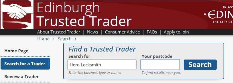 Trusted Trader locksmith in Edinburgh